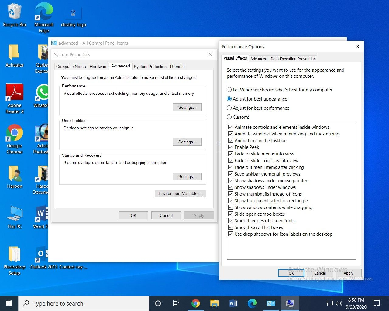 Control panel settings for laptop power