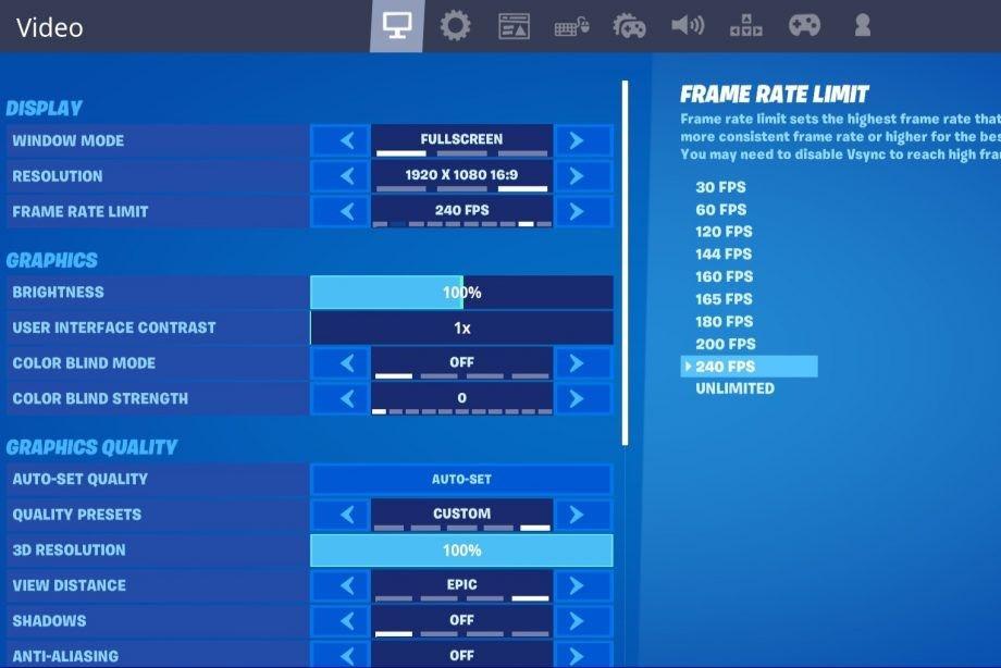 Fortnite video settings