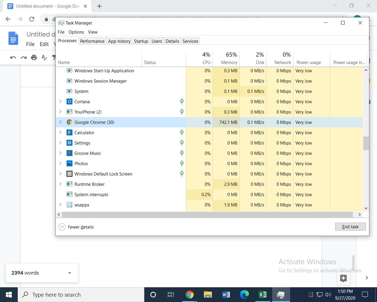 Windows task manager image 1