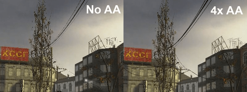 With and without Anti-Aliasing techniques