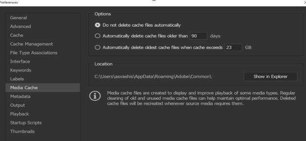 Adobe media cache settings