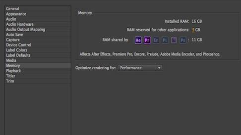 Adobe memory allocation settings