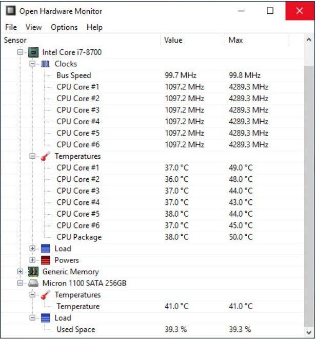 Open Hardware Monitor Interface