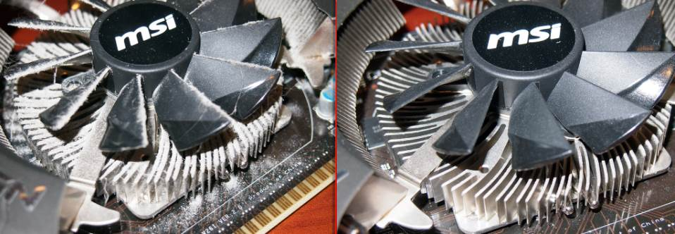 Before and After image of a dirty video card fan