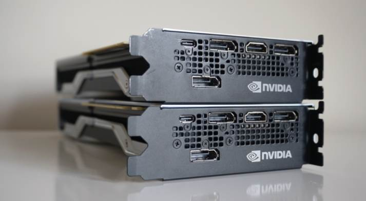 Image of two RTX 2080 showing the video ports