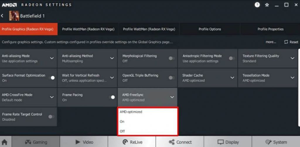 Image of how to enable amd freesync