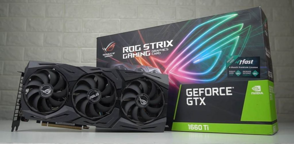 Image of ASUS ROG 1660 Ti with the box
